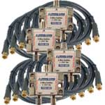Package of (4) 1x2 high frequency splitter and 8 coax cables